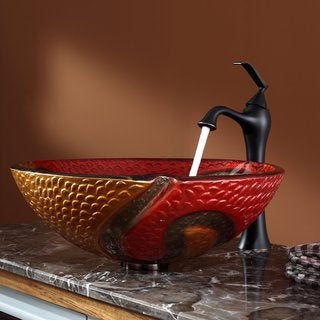Kraus Bathroom Combo Set Copper Snake Glass Vessel Sink/Ventus Faucet