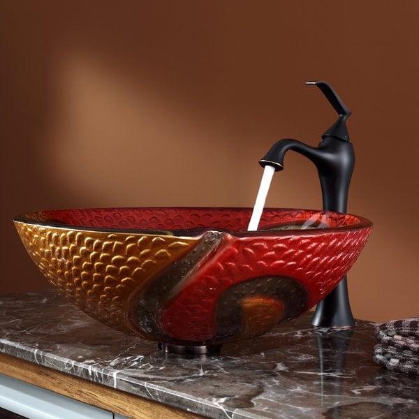 Kraus Bathroom Combo Set Copper Snake Glass Vessel Sink/Ventus Faucet