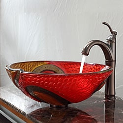 Kraus Bathroom Combo Set Copper Snake Glass Vessel Sink/Riviera Faucet
