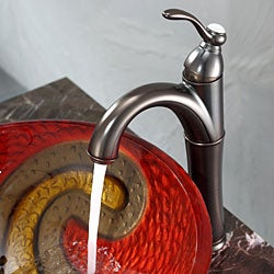 Kraus Copper Snake Glass Vessel Sink and Riviera Faucet Oil Rubbed Bronze