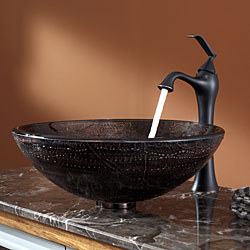 Kraus Bathroom Combo Set Copper Illusion Vessel Sink/Ventus Faucet