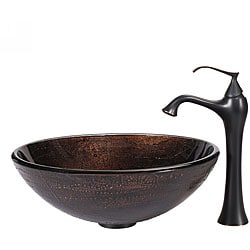 Kraus Copper Illusion Glass Vessel Sink and Ventus Faucet Oil Rubbed Bronze
