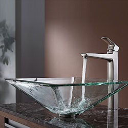 Kraus Clear Aquamarine Glass Vessel Sink and Virtus Faucet Brushed Nickel