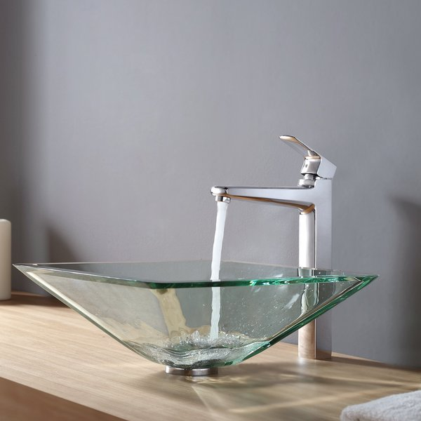 KRAUS Square Glass Vessel Sink in Clear with Virtus Faucet in Chrome 8758845