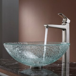 Kraus Broken Glass Vessel Sink and Virtus Faucet Brushed Nickel