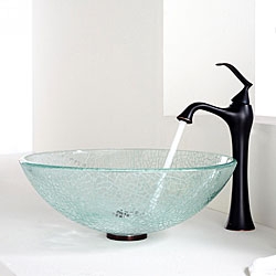 Kraus Broken Glass Vessel Sink and Ventus Faucet Oil Rubbed Bronze