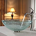 Kraus Broken Glass Vessel Sink and Ventus Faucet Brushed Nickel