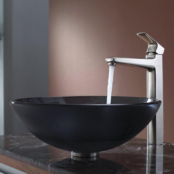 Kraus Bathroom Combo Set Frosted Black Glass Vessel Sink/Faucet