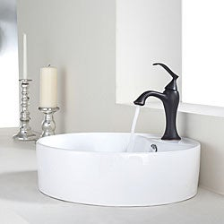Kraus Bathroom White Round Ceramic Sink and Ventus Basin Faucet Combo Set