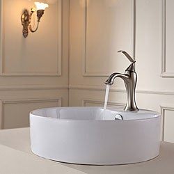 Kraus White Round Ceramic Sink and Ventus Basin Faucet Brushed Nickel