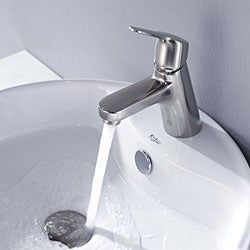 Kraus Bathroom Combo Set White Round Ceramic Sink/Ferus Bas-inch Faucet