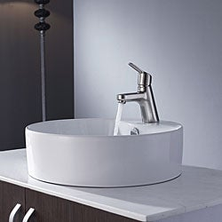 Kraus White Round Ceramic Sink and Ferus Basin Faucet Brushed Nickel