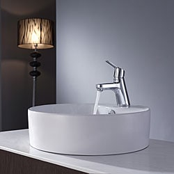 Kraus White Round Ceramic Sink and Ferus Basin Faucet Chrome