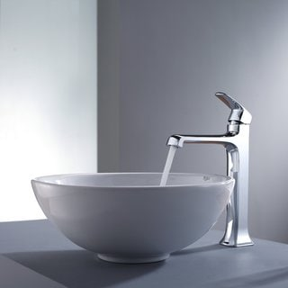 Kraus White Round Ceramic Sink and Decorum Bathroom Faucet Chrome