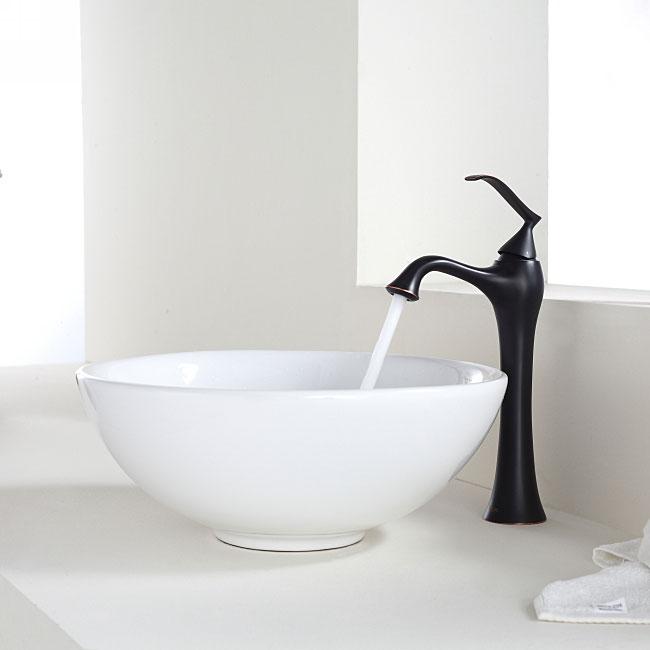 Kraus Bathroom Combo Set White Round Ceramic Sink and Ventus Faucet