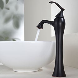 Kraus White Round Ceramic Sink and Ventus Oil-Rubbed Bronze Faucet Bundle