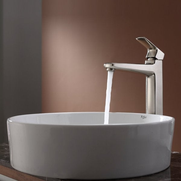 Kraus Bathroom Combo Set White Round Ceramic Sink and Virtus Faucet