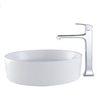 Kraus Bathroom Combo Set White Round Ceramic Sink and Decorum Faucet
