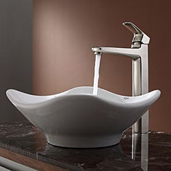 Kraus White Tulip Ceramic Sink and Virtus Faucet Brushed Nickel