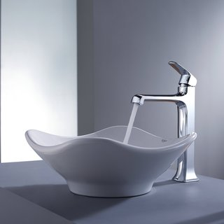 Kraus Bathroom Combo Set White Tulip Ceramic Sink and Decorum Faucet