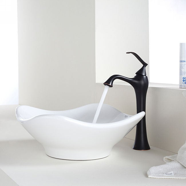 White Faucet Bathroom : Kraus Bathroom Combo Set White Tulip Ceramic Sink and Ventus Faucet ...