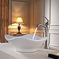 Kraus White Tulip Ceramic Sink and Ventus Faucet Brushed Nickel