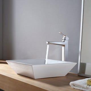 Kraus Bathroom Combo Set White Square Ceramic Sink and Virtus Faucet