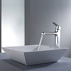 Kraus Bathroom Combo Set White Square Ceramic Sink and Decorum Faucet