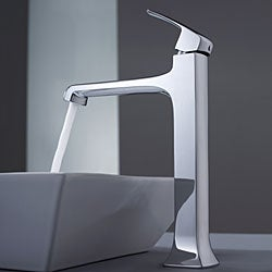 Kraus White Square Ceramic Sink and Decorum Chrome Vessel Faucet