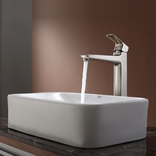 Kraus White Rectangular Ceramic Sink and Virtus Faucet Brushed Nickel