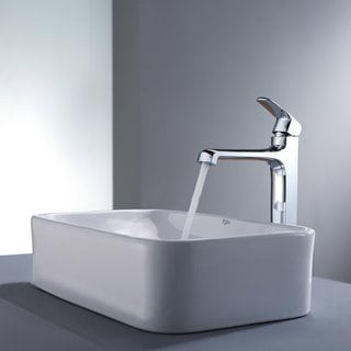 Kraus Bathroom Combo Set White Rectangular Ceramic Sink/Faucet