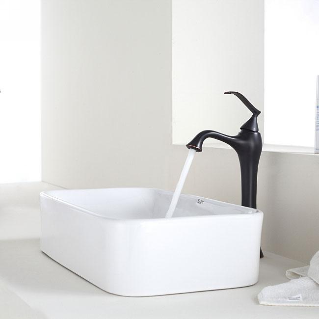 Kraus Bathroom Combo Set White Rectangular Ceramic Sink/Faucet