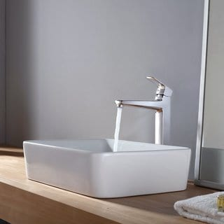 Kraus White Rectangular Ceramic Sink and Virtus Faucet Chrome