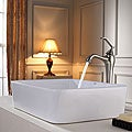 Kraus White Rectangular Ceramic Sink and Ventus Faucet Brushed Nickel