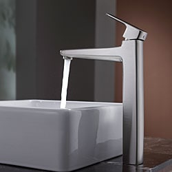 Kraus Bathroom Combo Set White Square Ceramic Sink and Virtus Faucet