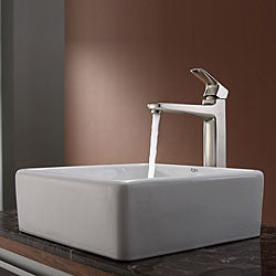 Kraus White Square Ceramic Sink and Virtus Faucet Brushed Nickel