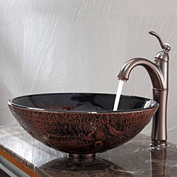 Kraus Bathroom Combo Set Lava Glass Vessel Sink and Riviera Faucet
