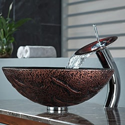 Kraus Lava Glass Vessel Sink and Waterfall Faucet