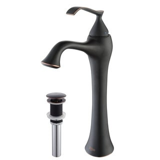Kraus Ventus Single Lever Vessel Faucet with Pop Up Drain Oil Rubbed Bronze
