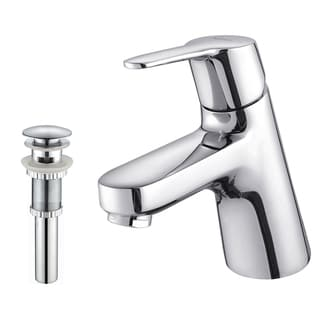 Kraus Ferus Single Lever Basin Faucet and Pop Up Drain with Overflow Chrome