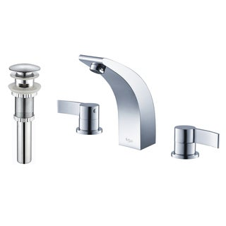 Kraus Illusio Double Handle Widespread Vessel Faucet and Pop Up Drain with Overflow Chrome