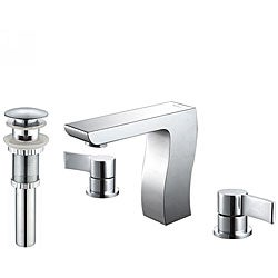 Kraus Sonus Three-hole Basin Faucet and Pop Up Drain with Overflow Chrome