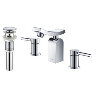 Kraus Unicus Three-hole Basin Faucet and Pop Up Drain with Overflow Chrome