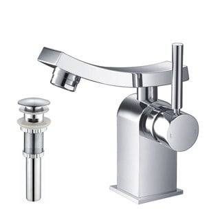 Kraus Unicus Single Lever Basin Faucet and Pop Up Drain with Overflow Chrome