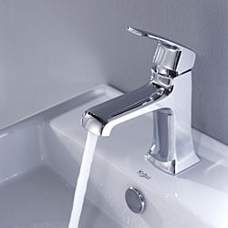 Kraus White Square Ceramic Sink and Decorum Basin Faucet Chrome