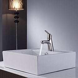 Kraus White Square Ceramic Sink and Ferus Basin Faucet Brushed Nickel