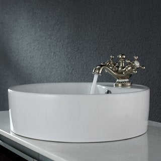 Kraus White Round Ceramic Sink and Apollo Basin Faucet Brushed Nickel