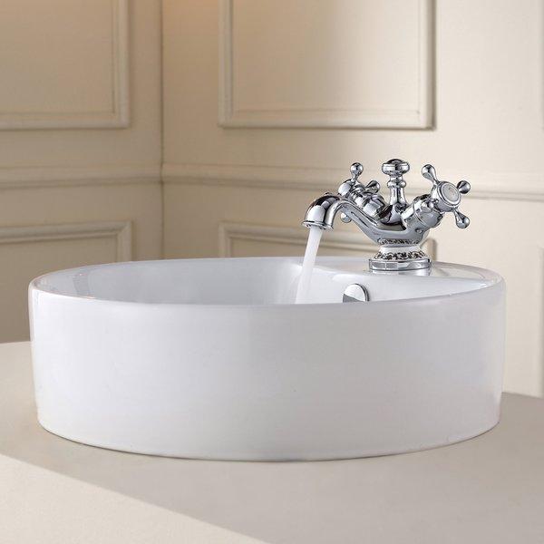 Kraus White Round Ceramic Sink and Apollo Basin Faucet Chrome