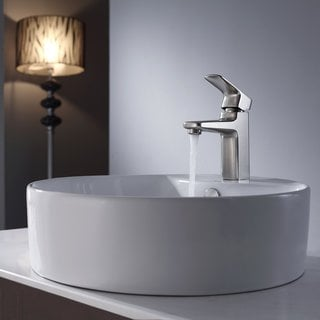Kraus White Round Ceramic Sink and Virtus Basin Faucet Brushed Nickel
