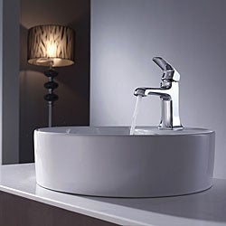 Kraus Bathroom Combo Set White Round Ceramic Sink/Decorum Bas-inch Faucet